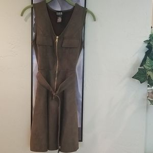 Rosie Harlow Faux Suede Zip Front Dress Small EUC
